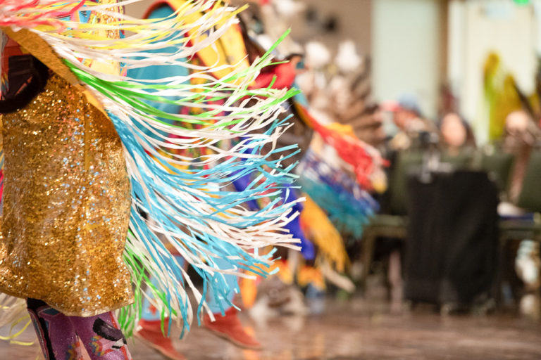 Fringe on a traditional dress worn at the CSU Pow Wow
