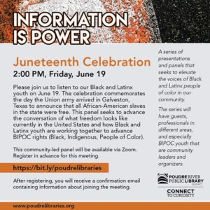 Juneteenth celebration through the Poudre River Public Library begins on Friday, June 19 at 2pm.