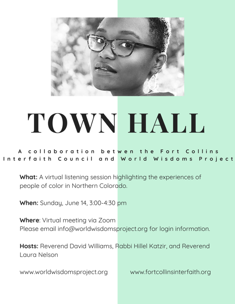 Flyer for Fort Collins Interfaith Council Town Hall on Racism in Northern Colorado