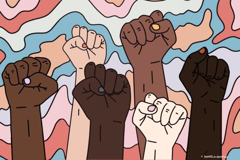 Several fists raised that reflect a variety of skin colors on a colorful background