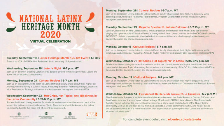 A list of events for Latinx Heritage Month