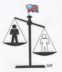 Illustration of the scales of justice, with a white silhouette on one side and a black silhouette on the other