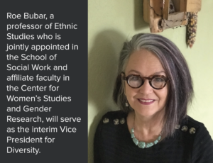 Roe Bubar, a professor of Ethnic Studies who is jointly appointed in the School of Social Work and affiliate faculty in the Center for Women's Studies and Gender Research, will serve as the interim Vice President for Diversity for Colorado State University.
