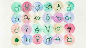 Watercolor illustration of a variety of gender-related icons