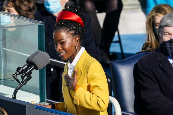 Poet Amanda Gorman reading at the inauguration of the 46th president, Joe Biden