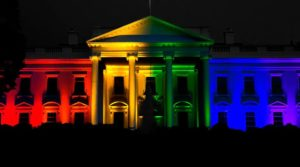 The White House lit up in an array of rainbow lights