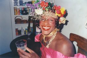 Marsha P Johnson with a flower crown