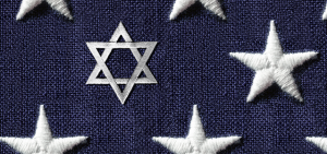 A close up of the stars on the U.S. flag, with one of them being the Jewish Star of David