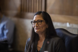 Rep. Deb Haaland, D-N.M., listens during a Senate Committee on Energy and Natural Resources hearing on her nomination to be Interior Secretary