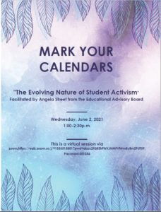 The Evolving Nature of Student Activism: June 2 from 1:00-2:30pm