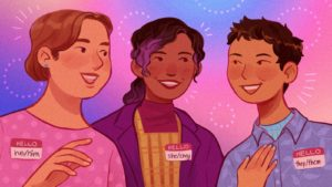 Illustration with three people wearing their pronouns on nametags