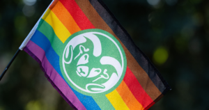LGBTQAI+ Pride flag with a Ram head in the middle