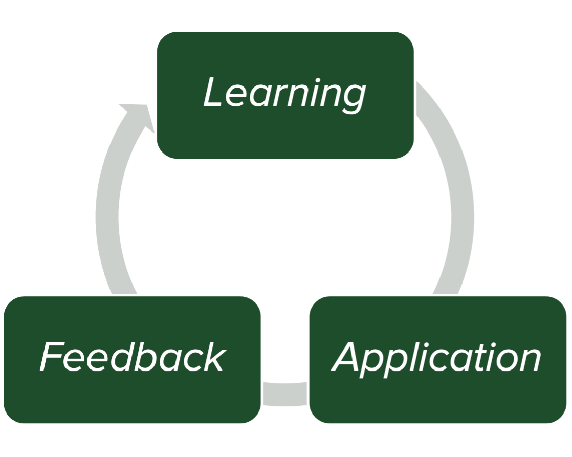 Learning leads to application, which leads to feedback. With new information (feedback) the process begins again at learning.